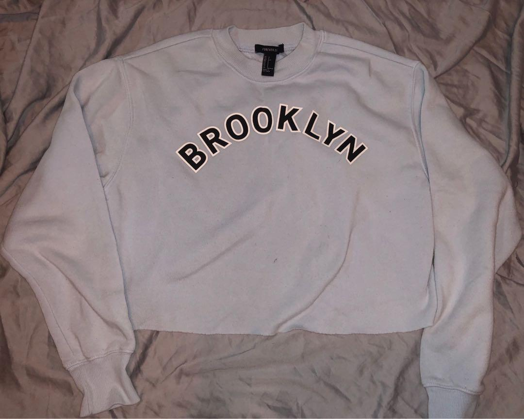 forever 21 pastel blue cropped brooklyn sweatshirt