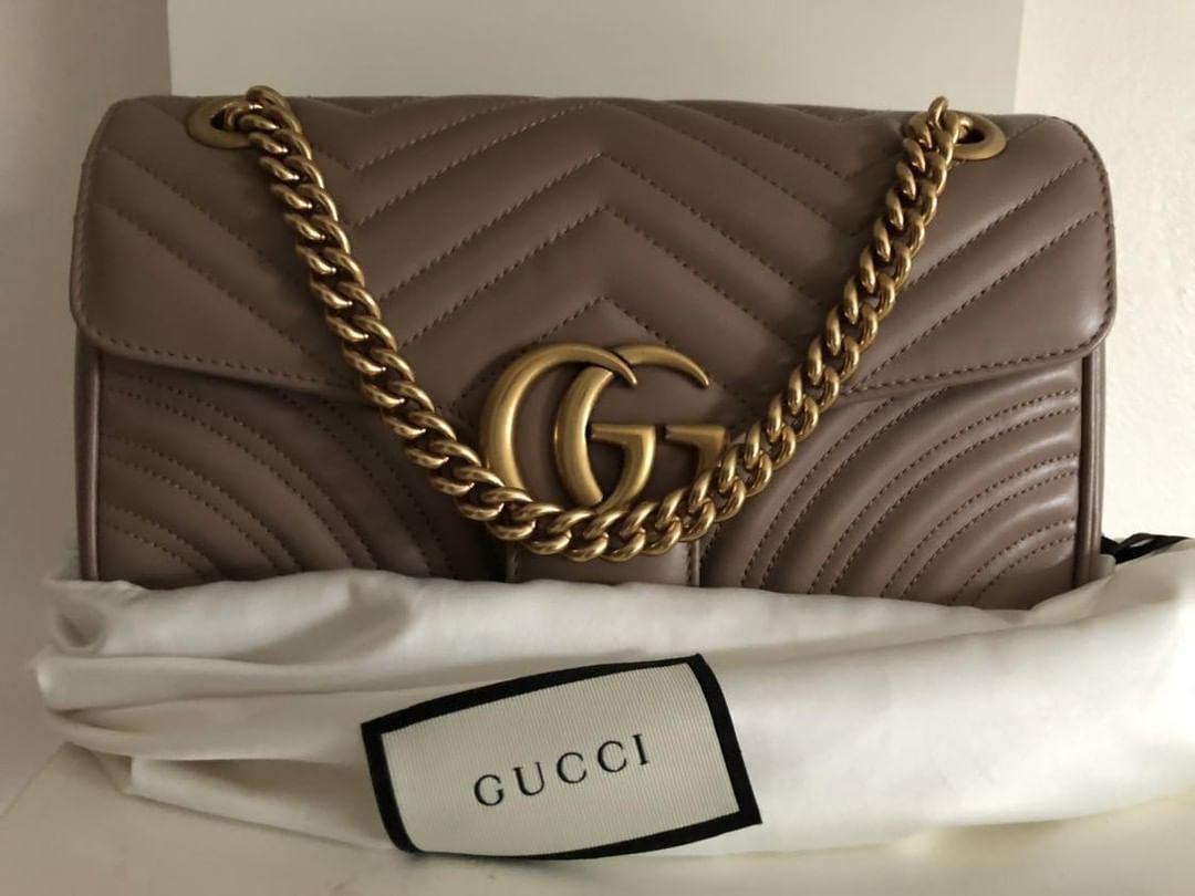 Gucci Marmont Matelassé Shoulder Bag - Dusty Pink / Small