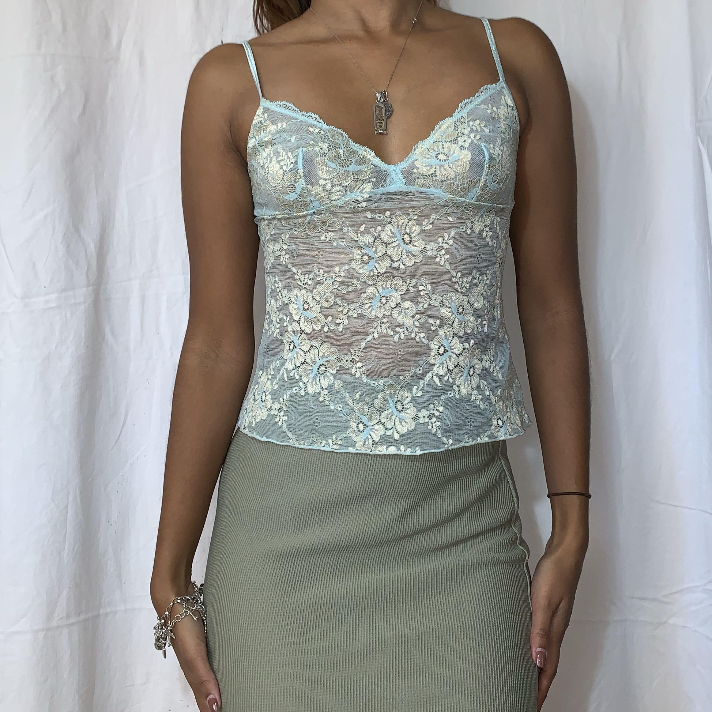 Vintage baby blue lace camisole top (shipping incl)