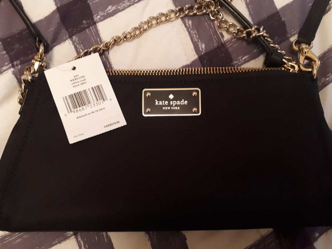 Kate Spade New York Jane Wilson Road Crossbody Black Nylon Purse With Gold Chain Handle