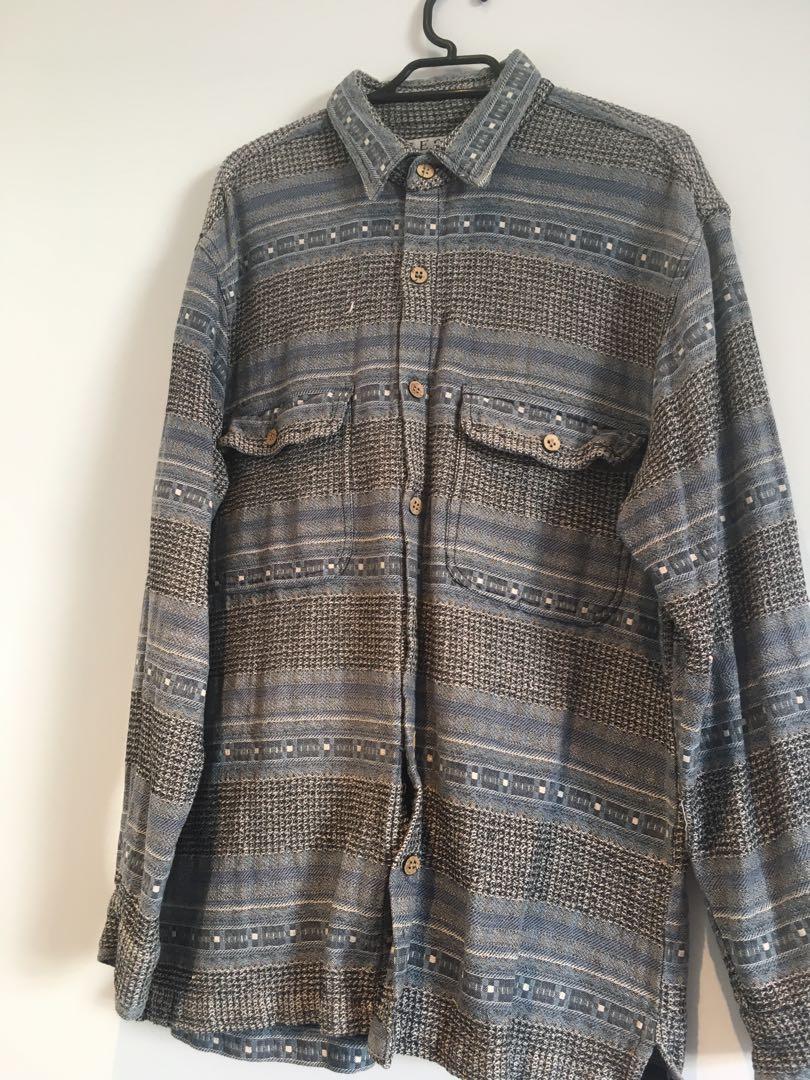Medium men's hippie button up thick material unique pattern
