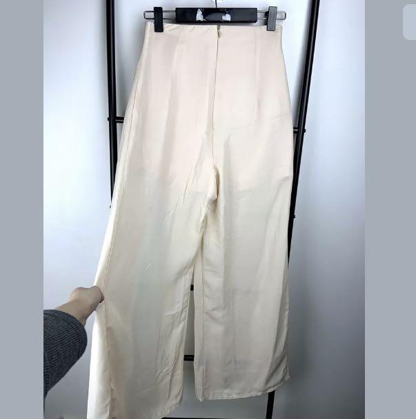 New Love + Flair sz XS/S beige glittery wide leg pants trousers festival party