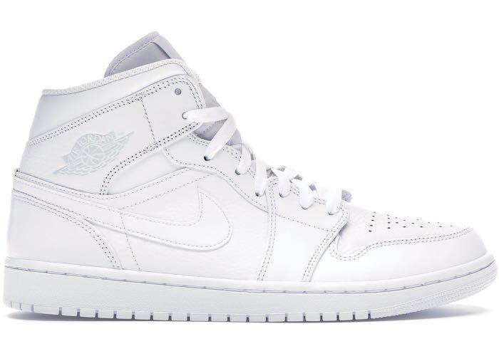 classic styles top fashion high quality Nike Air Jordan 1 Mid - Triple White, Men's Fashion, Footwear ...