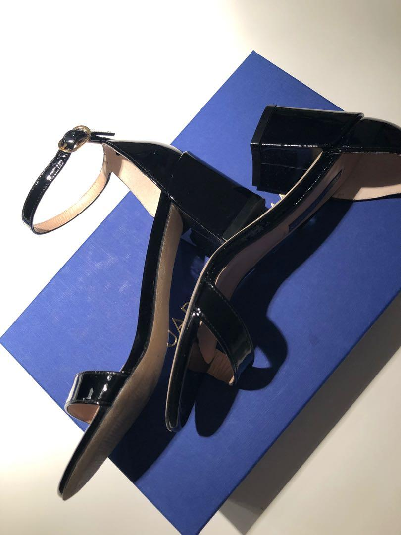 Stuart Weitzman the simple sandal black patent leather