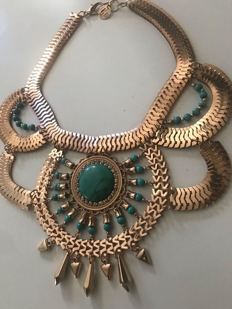 Stunning large gold/ aqua dress jewellery necklace