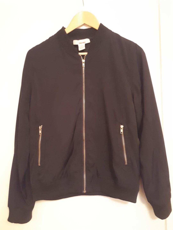 Tilly's Plain Black Bomber Large Jacket with Bronze Zipper