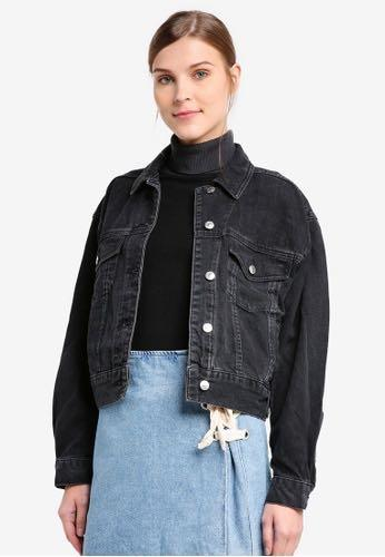 official store unique design low price sale Topshop MOTO cropped black denim jacket, Women's Fashion ...