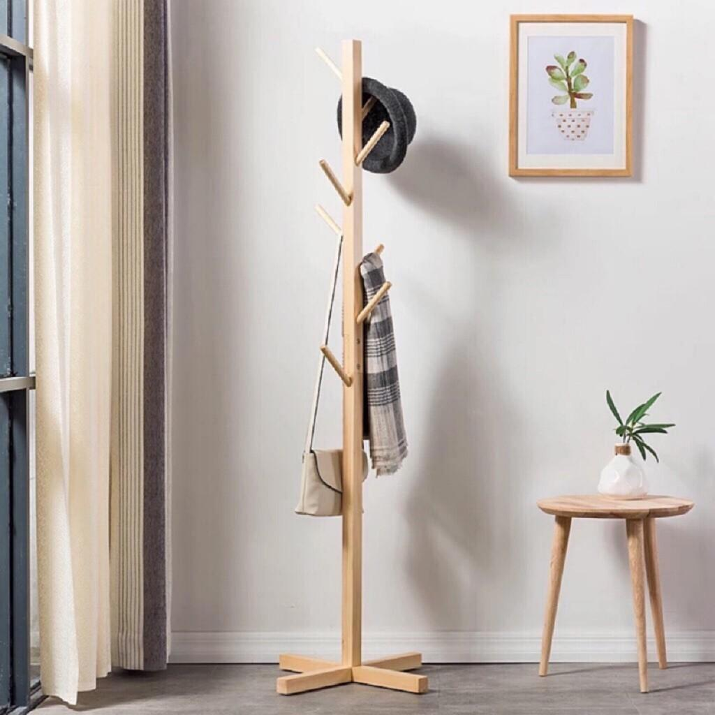 Wood Coat Rack Hat Clothes Stand Wardrobe Easy Assemble Ikea