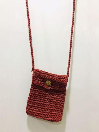 Red Knitted Sling Bag