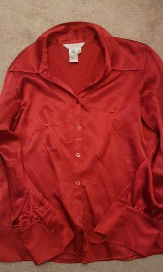 Red Silk Vintage Blouse