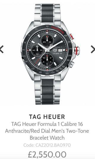 TAG Heuer Formula 1 Calibre 16 Anthracite/Red Dial Men's Two-Tone Bracelet Watch