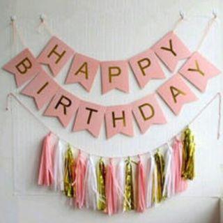 Happy Birthday Card Banner and Tassel Set