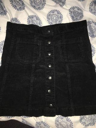 Brandy Melville mini skirt black corduroy button up
