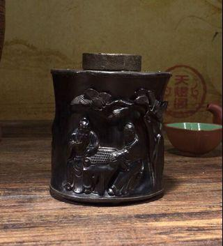 血檀木包錫茶葉罐