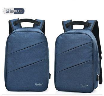【Q夫妻】Backpack 防盜包 連接USB充電接口 後背包 雙肩包 帆布包 電腦包 藍色 #B1009-3