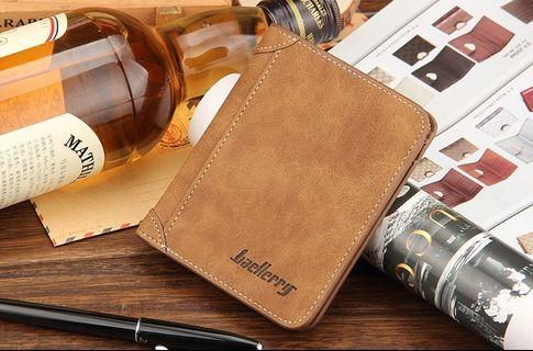 🚚 【Q夫妻】Baellerry Wallet PU皮革 豎款 短皮夾 男用 棕色 #BB002-2