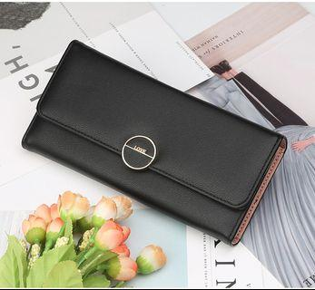 🚚 【Q夫妻】Baellerry Wallet PU皮革 三折 多卡位 多夾層 大零錢空間 長皮夾 女包 黑色 #BB505-6
