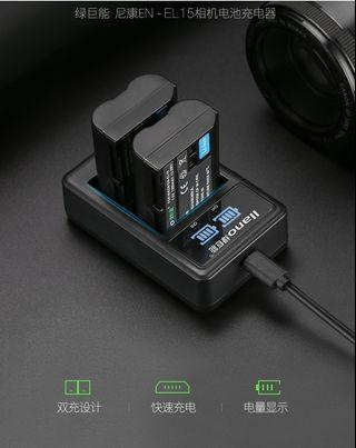 【Q夫妻】 llano EN-EL15 Charger 充電器 USB充電 雙槽充電 D750 D7000 D7100 D600 D610 D800 #E1-3