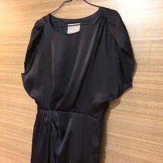 🚚 (Designer label) Gallardagalante (Japan) Black/Midnight blue satin shimmer formal office dress, work/evening/party/occasion dress, pleated front, LBD Little Black Dress, short sleeves #MRTRaffles #MRTJurongEast