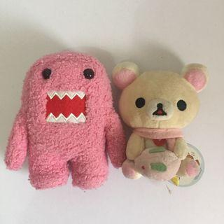 SET OF 2 Korilakkuma Rilakkuma & Pink Domo Plush Stuffed Toys