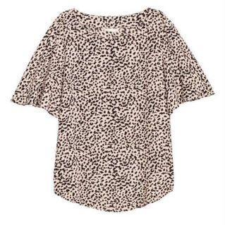 H&M Leopard Print Flowy Sleeve Visose Blouse