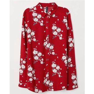 H&M Red Flower Viscose Shirt