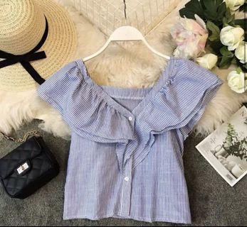 Striped Flutter Top with Buttons