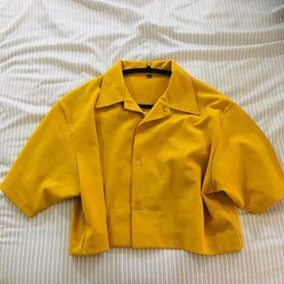 Mustard yellow cropped button up