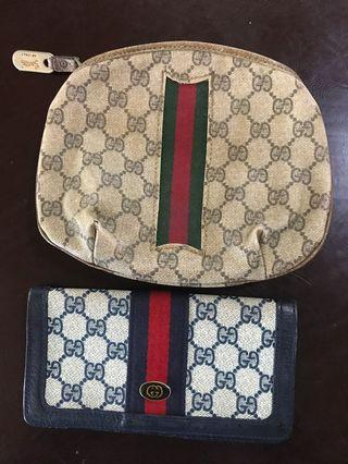 Authentic Vintage Gucci wallet and cosmetic pouch bundle