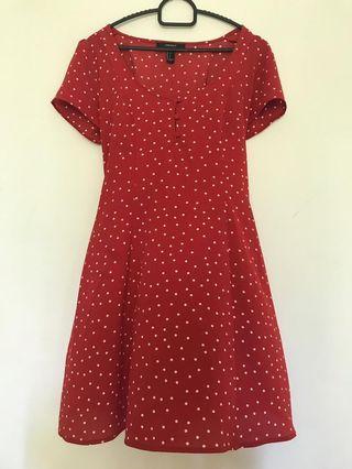 [Preloved] Forever 21 Red Polka Dot Dress