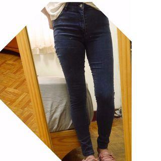 MANGO Skinny jeans深藍高腰牛仔褲