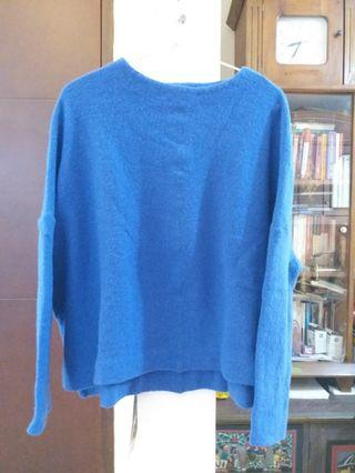 Zara blue fur knit oversized sweater