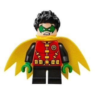 588 LEGO DC Super Heroes 76118 Batman Robin - Green Mask and Hands, Black Short Legs, Yellow Scalloped Cape