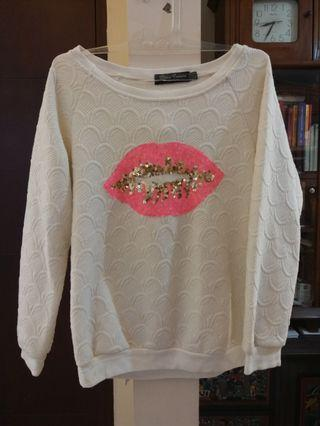 White pink lips sequins oversized sweater