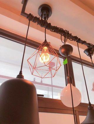 Rose Gold Geometric Cage Pendant/Ceiling Lights (2 pieces)