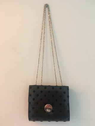 Accessorize Mini Handbag Clubbing Clutch Black with Polka Dot Detail