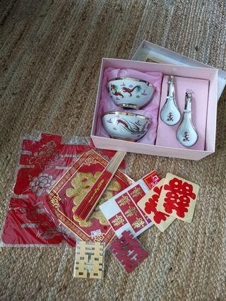 Wedding stickers and tangyuan bowl with spoon set