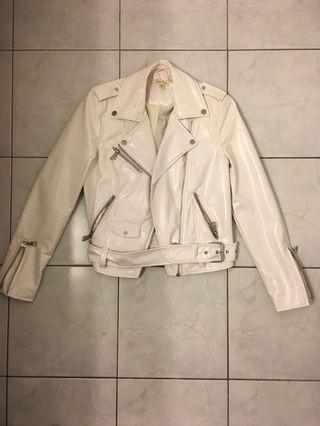 Urban Outfitters White Vinyl Leather Jacket