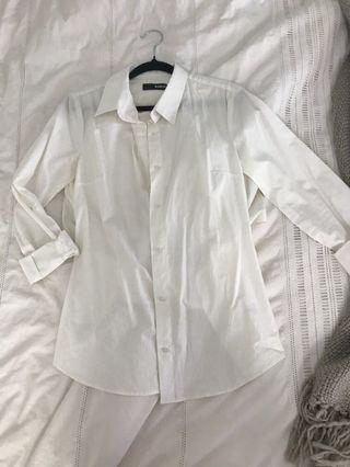 White open back button up shirt