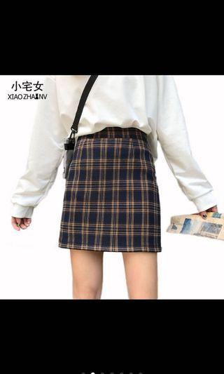 韓版格紋A字裙