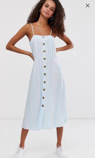 Boohoo blue Striped button down Midi Dress #MRTYishun