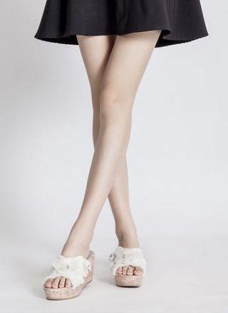 White Canvas Pretty nice PrettyFit flip-in high heels wedge/sandals