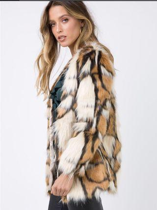 Brown/White Faux Fur Coat
