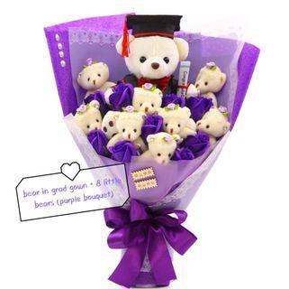 💜NEW STOCKS! 💜Graduation Bear Bouquet Purple Series soap flowers student polytechnic