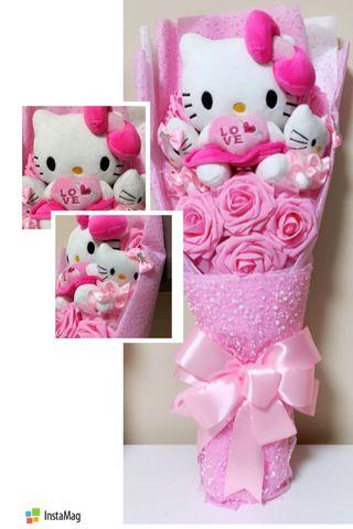 🚚 AVAIL!! 🎀Hello Kitty Everlasting Soap Flower Bouquet Marriage Proposal Graduation Convocation Gift