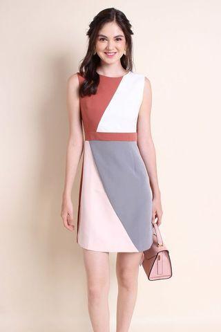 MadebyNM Antonella Colourblock A-Line Work Dress