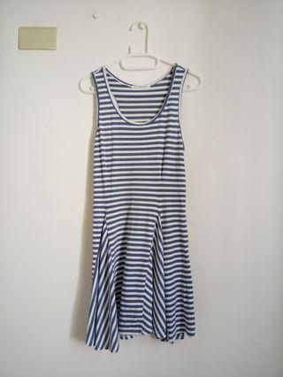 T-PARTS夏日無袖條紋洋裝