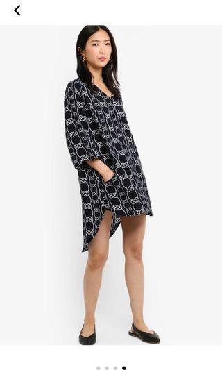 V neck shift button down dress