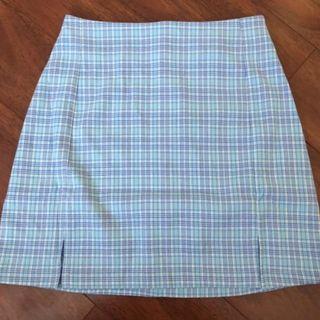 brandy melville blue plaid cara skirt