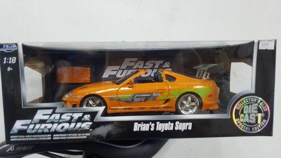 1/18 狂野時速橙色 Fast and Furious Jada Supra Toyota orange Paul